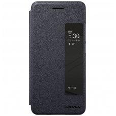 Huawei P20 Atverčiamas dėklas Nillkin Sparkle PC plastikas ir PU oda  juodas