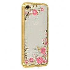 iphone x/xs dėklas 3d flower crystal flower silikonas auksinis