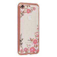 iphone x/xs dėklas 3d flower crystal flower silikonas rožinis