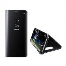 Akcija! Samsung galaxy s10e ATVERČIAMAS DĖKLAS CLEAR VIEW VEIDRODINIU-PERMATOMU DANGTELIU JUODAS