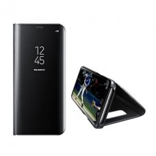 Samsung galaxy a7 2018 ATVERČIAMAS DĖKLAS CLEAR VIEW VEIDRODINIU-PERMATOMU DANGTELIU JUODAS