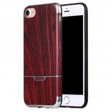 iphone 7plus / 8 plus dėklas pipilu/x-level wood tpu bordo