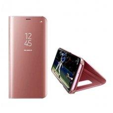 Iphone 7 plus / 8 plus  Atverčiamas dėklas CLEAR VIEW rožinis permatomas - veidrodinis priekinis dangtelis