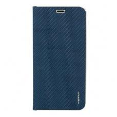 Samsung Galaxy a70 atverčiamas dėklas Vennus Carbon eco oda mėlynas