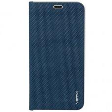 Samsung Galaxy a6 2018  atverčiamas dėklas Vennus Carbon eco oda mėlynas