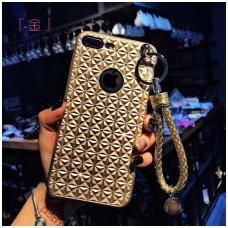 Iphone 7 plus / 8 plus dėklas 3d diamond silikonas auksinis