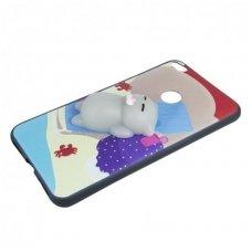 Samsung Galaxy s7 dėklas Kawaii 4D su minkštu žaisliuku pilka katė Silikoninis