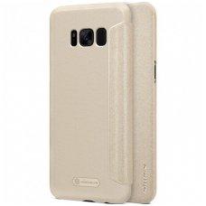 Samsung galaxy S8 plus Atverčiamas dėklas Nillkin Sparkle PC plastikas ir PU oda  smėlinis