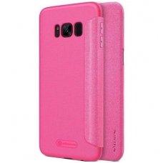 Samsung galaxy S8 plus Atverčiamas dėklas Nillkin Sparkle PC plastikas ir PU oda  rožinis