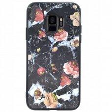 """Samsung Galaxy A6 2018 dėklas """"Flowers 11"""" TPU juodas"""