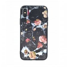 iphone xs max dėklas flowers silikonas juodas