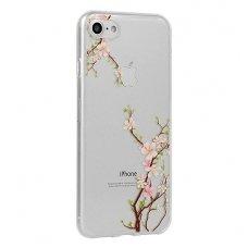 Samsung Galaxy a8 2018 dėklas Flower Cherry silkoninis permatomas