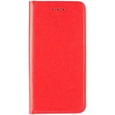 Akcija! Huawei y9 2018 atverčiamas dėklas BOOK SPECIAL tikra oda raudonas