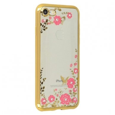 iphone 5/ 5S / SE dėklas 3d flower crystal flower silikonas auksinis