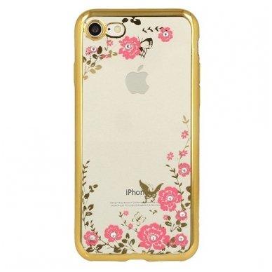 iphone 5/ 5S / SE dėklas 3d flower crystal flower silikonas auksinis 2