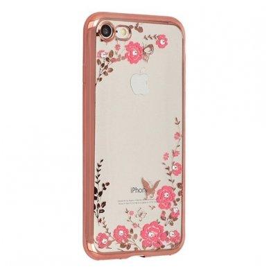 iphone 5/ 5S / SE dėklas 3d flower crystal flower silikonas rožinis