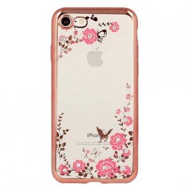 iphone 5/ 5S / SE dėklas 3d flower crystal flower silikonas rožinis 2