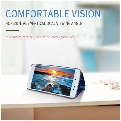 Samsung Galaxy a70 atverčiamas dėklas Clear View veidrodiniu-permatomu dangteliu mėlynas   4