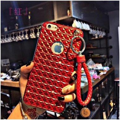 Huawei p20 dėklas 3d diamond silikonas raudonas