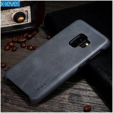 Samsung galaxy A6 Plus 2018 dėklas X-LEVEL VINTAGE eko oda juodas
