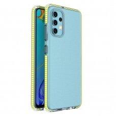 Samsung Galaxy A32 4G dėklas Spring Case TPU skaidrus geltonais kraštais