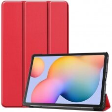 """Samsung Tab S6 Lite atverčiamas dėklas """"Smart Leather"""" eko oda raudonas"""