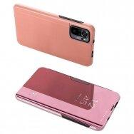 Akcija! xiaomi redmi Note 10 Pro atverčiamas dėklas Clear View veidrodiniu-permatomu dangteliu rožinis