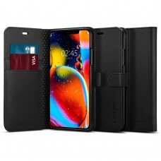Akcija! Iphone 11 pro max atverčiamas dėklas Spigen Wallet S Juodas