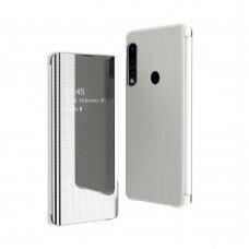 Akcija! Huawei p30 lite atverčiamas dėklas Clear View veidrodiniu-permatomu dangteliu sidabrinis