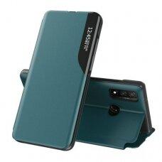 Akcija! Huawei P30 lite atverčiamas dėklas Eco Leather View žalias