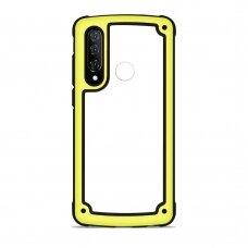 Akcija! Huawei P30 Lite dėklas Solid Frame PC/TPU Bumper geltonais kraštais
