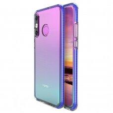 Akcija! Huawei P30 Lite dėklas Spring Case  TPU  skaidrus mėlynais kraštais
