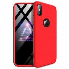 akcija! Iphone Xs Max HURTEL dėklas dvipusis 360 plastikas raudonas