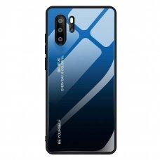 Akcija! Huawei P30 Pro dėklas Gradient Glass Durable with Tempered Glass Back mėlynas-juodas