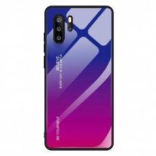Akcija! Huawei P30 Pro dėklas Gradient Glass Durable with Tempered Glass Back mėlynas-rožinis