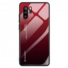 Akcija! Huawei P30 Pro dėklas Gradient Glass Durable with Tempered Glass Back raudonas-juodas
