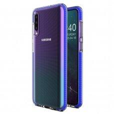 Akcija! Samsung A40 dėklas Spring Case TPU skaidrus tamsiai mėlynais kraštais