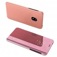 Akcija! Xiaomi redmi 8A atverčiamas dėklas Clear View veidrodiniu-permatomu dangteliu rožinis