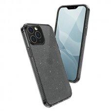 akcija! Iphone 12 / 12 pro aukštos kokybės dėklas UNIQ LifePro Tinsel juodas su blizgučiais