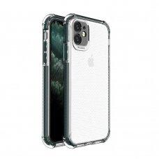 Iphone 11 dėklas Spring Case TPU skaidrus tamsiai žaliais kraštais