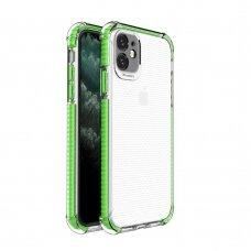 akcija! Iphone 11 dėklas sutvirtinais kampais Spring Armor clear TPU žaliais kraštais