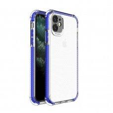 akcija! Iphone 11 dėklas sutvirtinais kampais Spring Armor clear TPU mėlynais kraštais