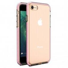 akcija! Iphone SE 2020 dėklas sutvirtinais kampais Spring Armor clear TPU rožiniais kraštais