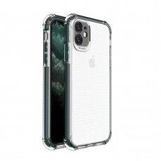 akcija! Iphone 11 dėklas sutvirtinais kampais Spring Armor clear TPU tamsiai žaliais kraštais