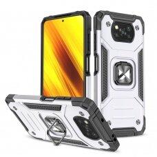 Akcija! Xiaomi Poco X3 NFC dėklas Wozinsky Ring Armor sidabrinis