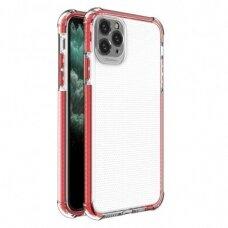 Iphone 11 Pro Max dėklas Spring Case  skaidrus raudonais kraštais