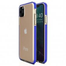 Iphone 11 Pro Max dėklas Spring Case  skaidrus mėlynais kraštais