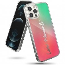 akcija! iphone 12 / 12 pro dėklas Ringke Fusion Design PC Žalias-Rožinis