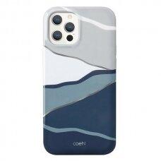 Akcija! Iphone 12 / 12 pro dėklas UNIQ Coehl Terrazzo mėlynas-pilkas
