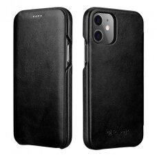 Akcija! iPhone 12 / 12 pro odinis atverčiamas dėklas iCarer juodas